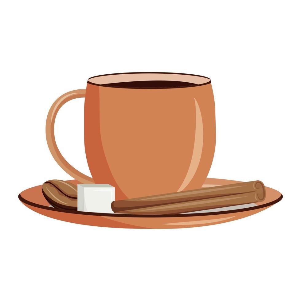 illustration vectorielle de café épicé dessin animé. boisson gourmande à la caféine. recette de filtre. bière traditionnelle. expresso avec objet de couleur plat cannelle et sucre. thé noir isolé sur fond blanc vecteur
