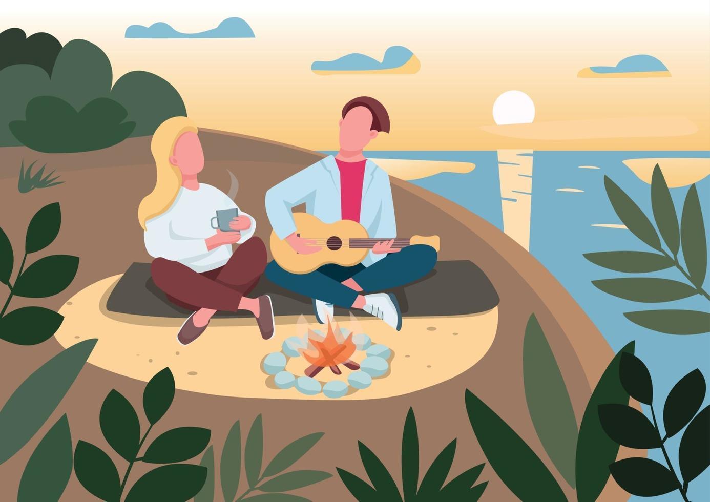 illustration vectorielle de plage pique-nique plat couleur. homme jouant de la guitare. petit ami et petite amie en camping. couple à la date d'été romantique personnages de dessins animés 2d avec mer et coucher de soleil sur fond vecteur