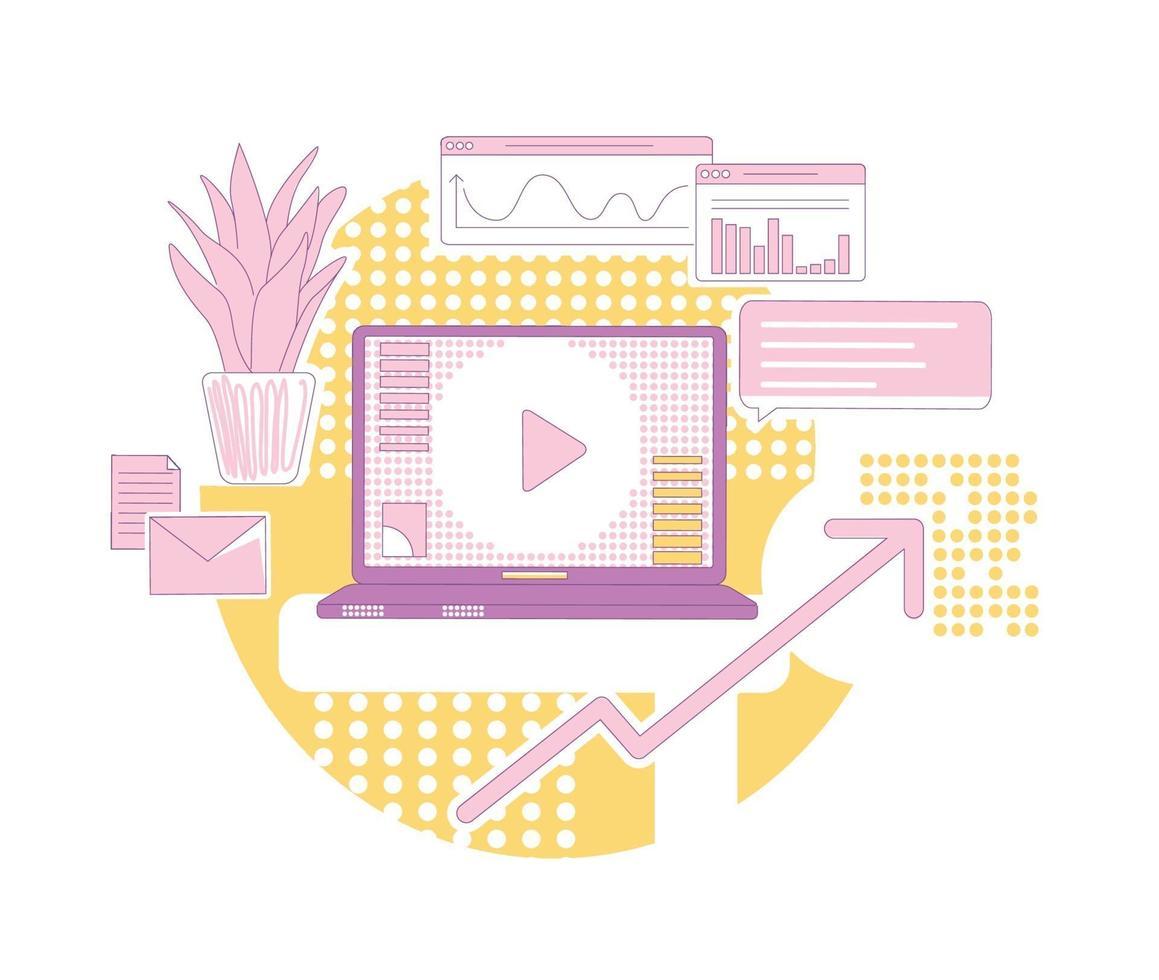illustration vectorielle de contenu marketing fine ligne concept. entreprise de publicité moderne composition de dessin animé 2d pour la conception web. promotion en ligne, développement de la base de clients, idée créative de croissance des ventes vecteur