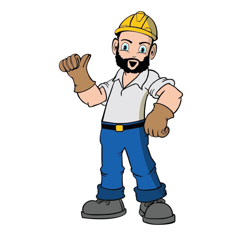 illustration de travailleur de construction de personnage de dessin animé vecteur