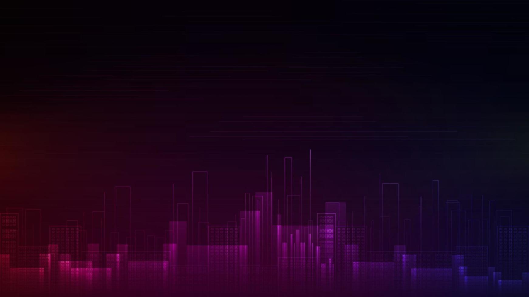 paysage urbain dans le style de ligne numérique dans les couleurs roses et bleus. fond avec la silhouette de la ville du futur vecteur