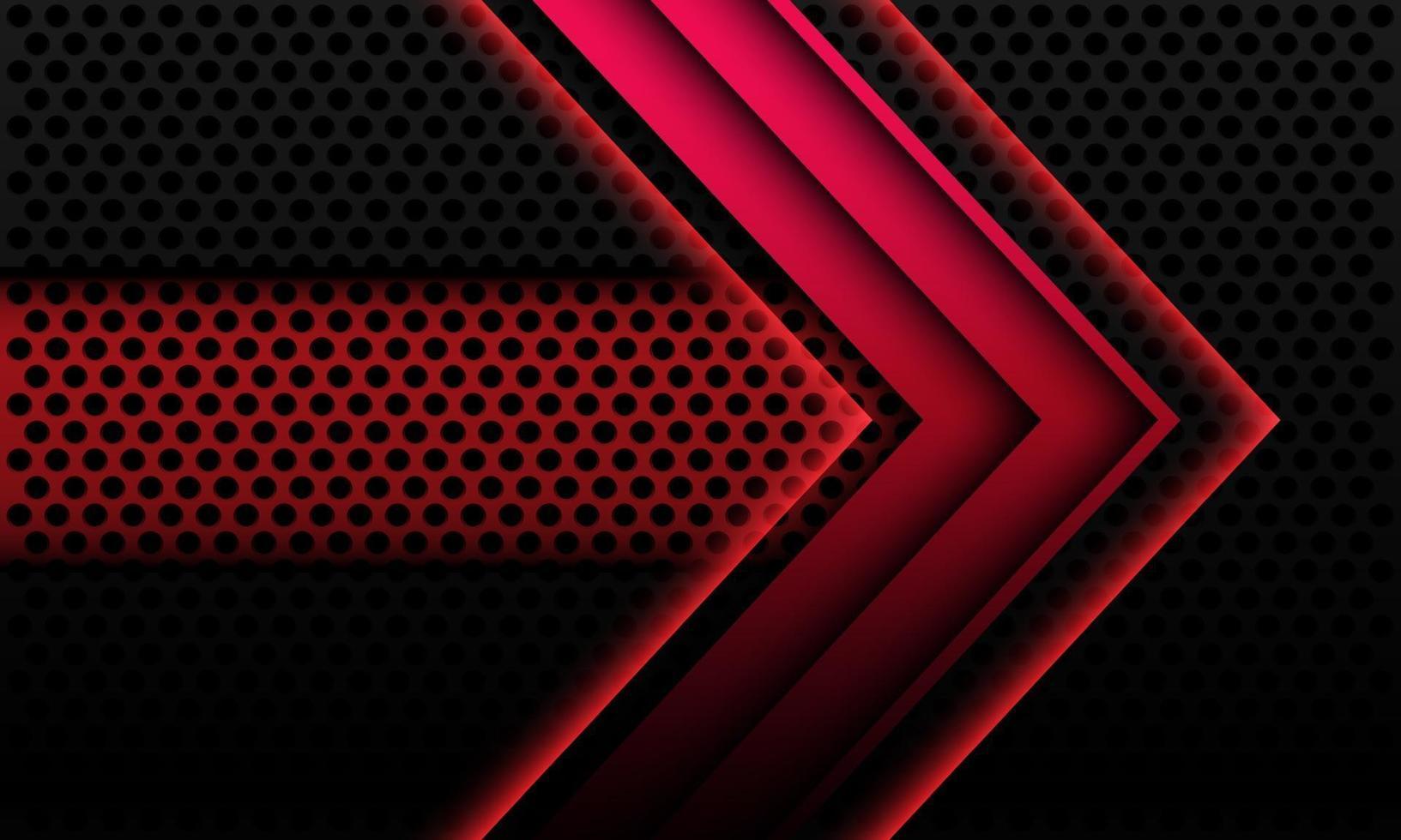 Abstrait rouge métallique flèche ombre direction géométrique sur le maillage de cercle noir avec bannière espace vide design illustration vectorielle de fond technologie futuriste moderne. vecteur