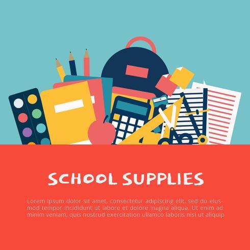 Illustration vectorielle de fournitures scolaires vecteur