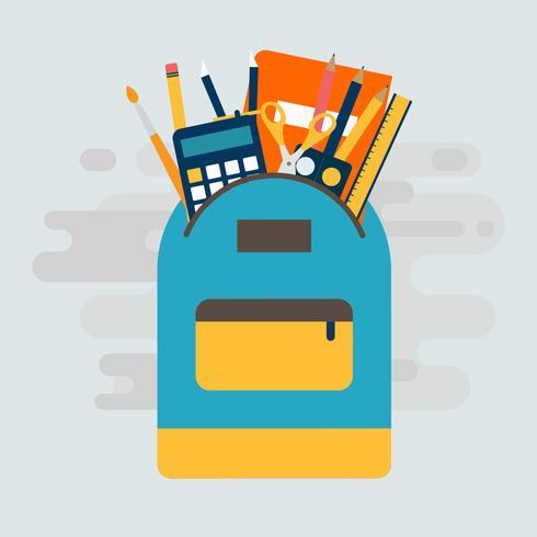 Sac à dos avec fournitures scolaires Illustration vectorielle vecteur