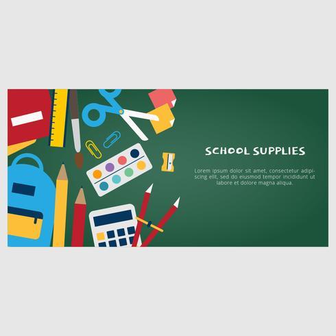 Bannière de vecteur de fournitures scolaires
