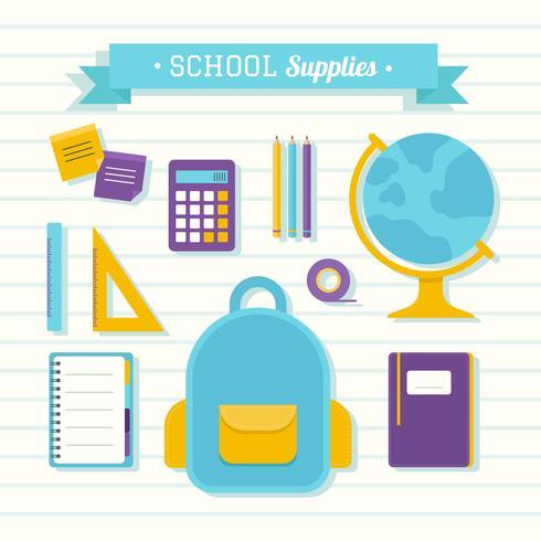 Vecteur de fournitures scolaires