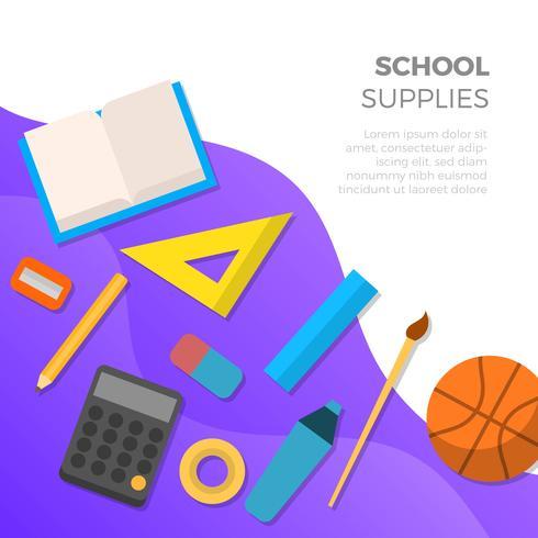 Fournitures scolaires plat avec Illustration vectorielle de fond dégradé vecteur