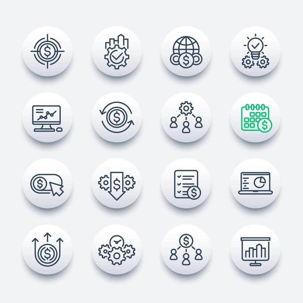 jeu d & # 39; icônes de ligne finance et entreprise vecteur