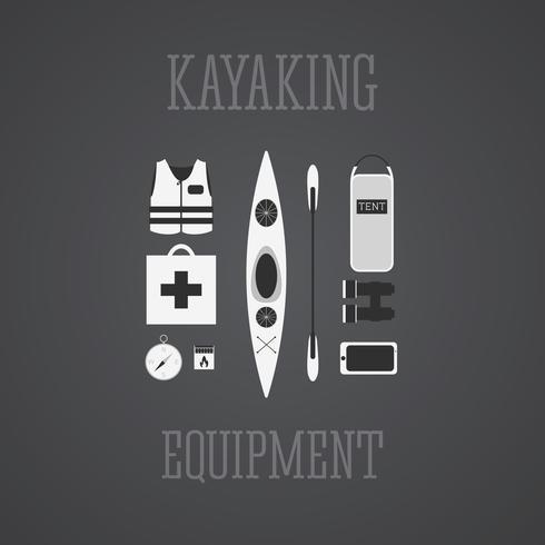 Ensemble d'équipement de kayak. vecteur