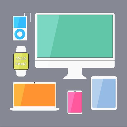 Ensemble de périphériques d'affaires modernes - écran, tablette numérique, périphériques mobiles, montre intelligente, lecteur de musique, ordinateur portable. Conception de couleur élégante. Isolé sur fond bleu. vecteur