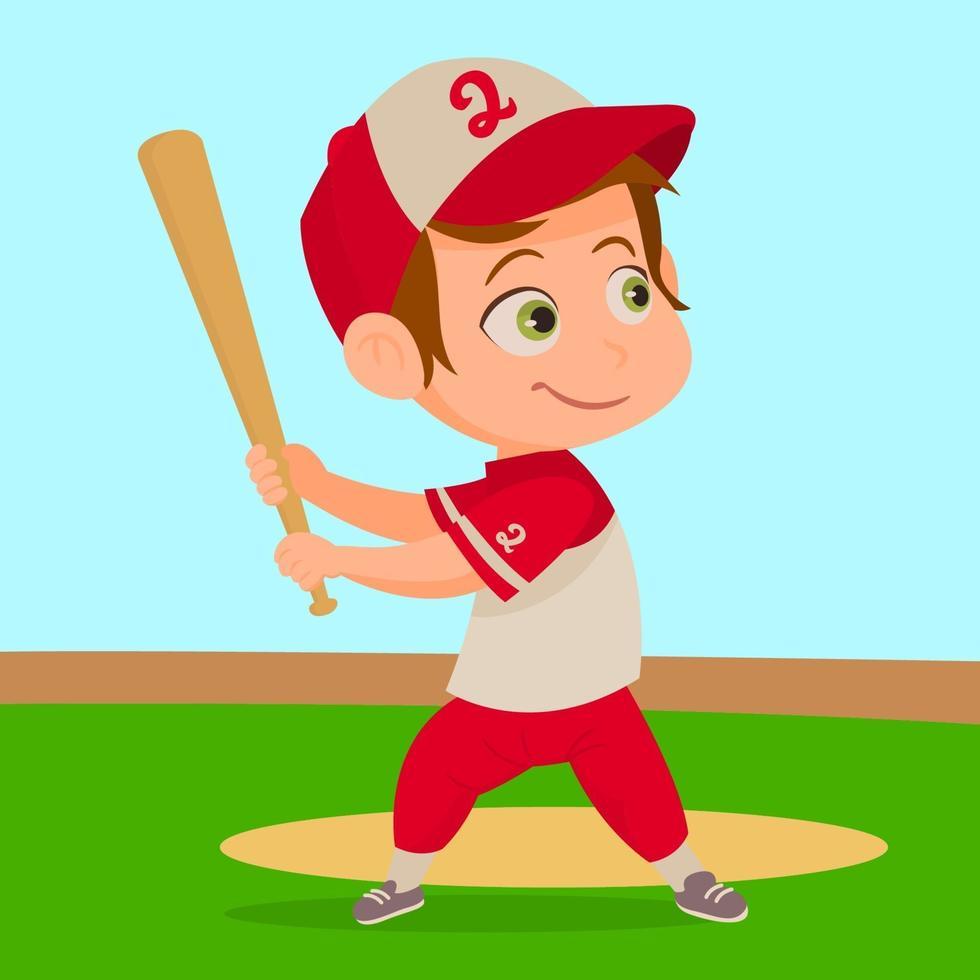 heureux petit garçon jouant au baseball vecteur