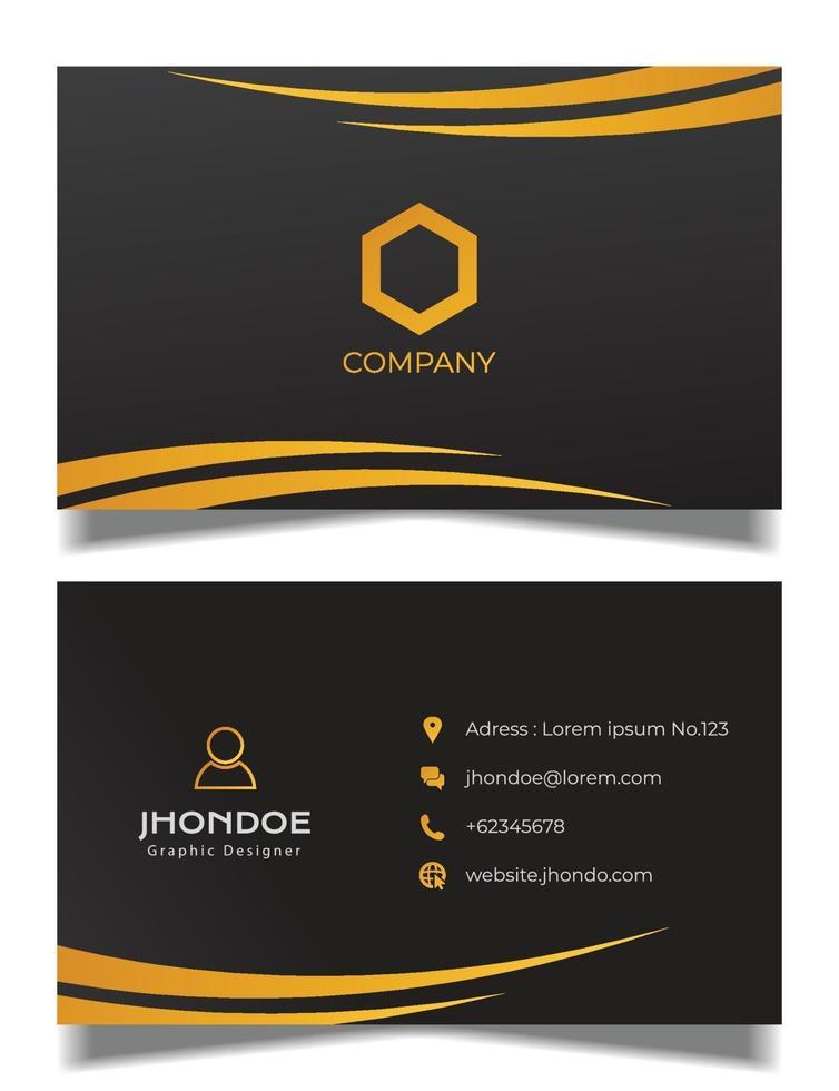modèle de vecteur de carte de visite professionnelle, carte de visite orange et noire