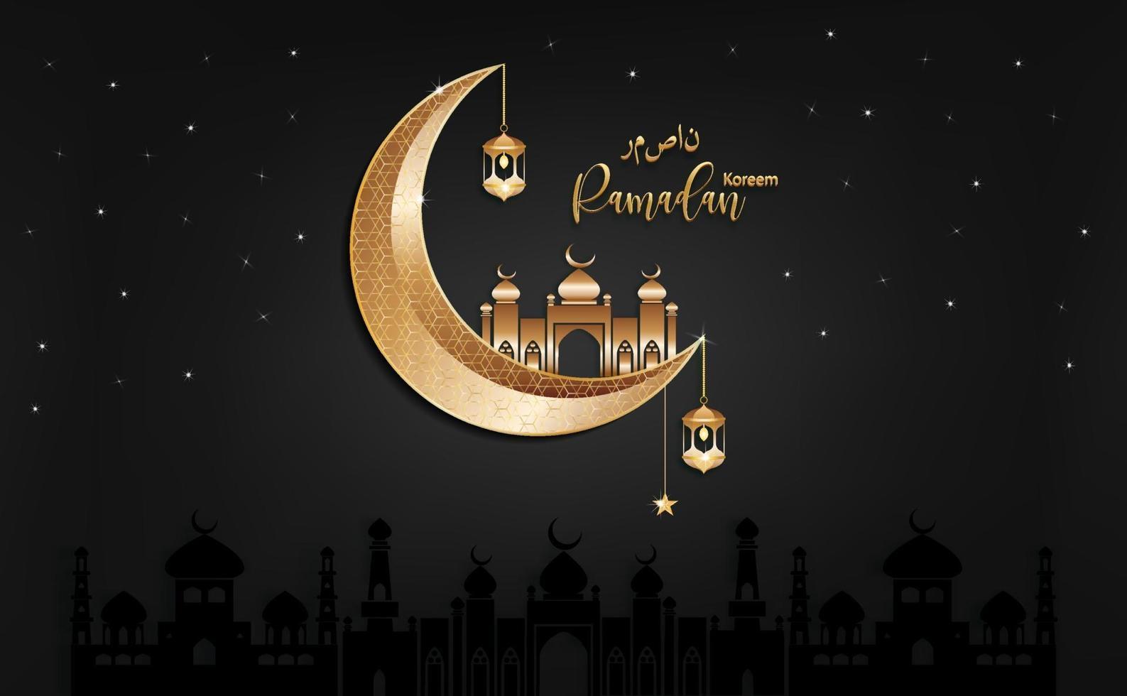 nuits sombres eid mubarak saluant ramadan kareem vecteur souhaitant festival islamique pour bannière, affiche, arrière-plan