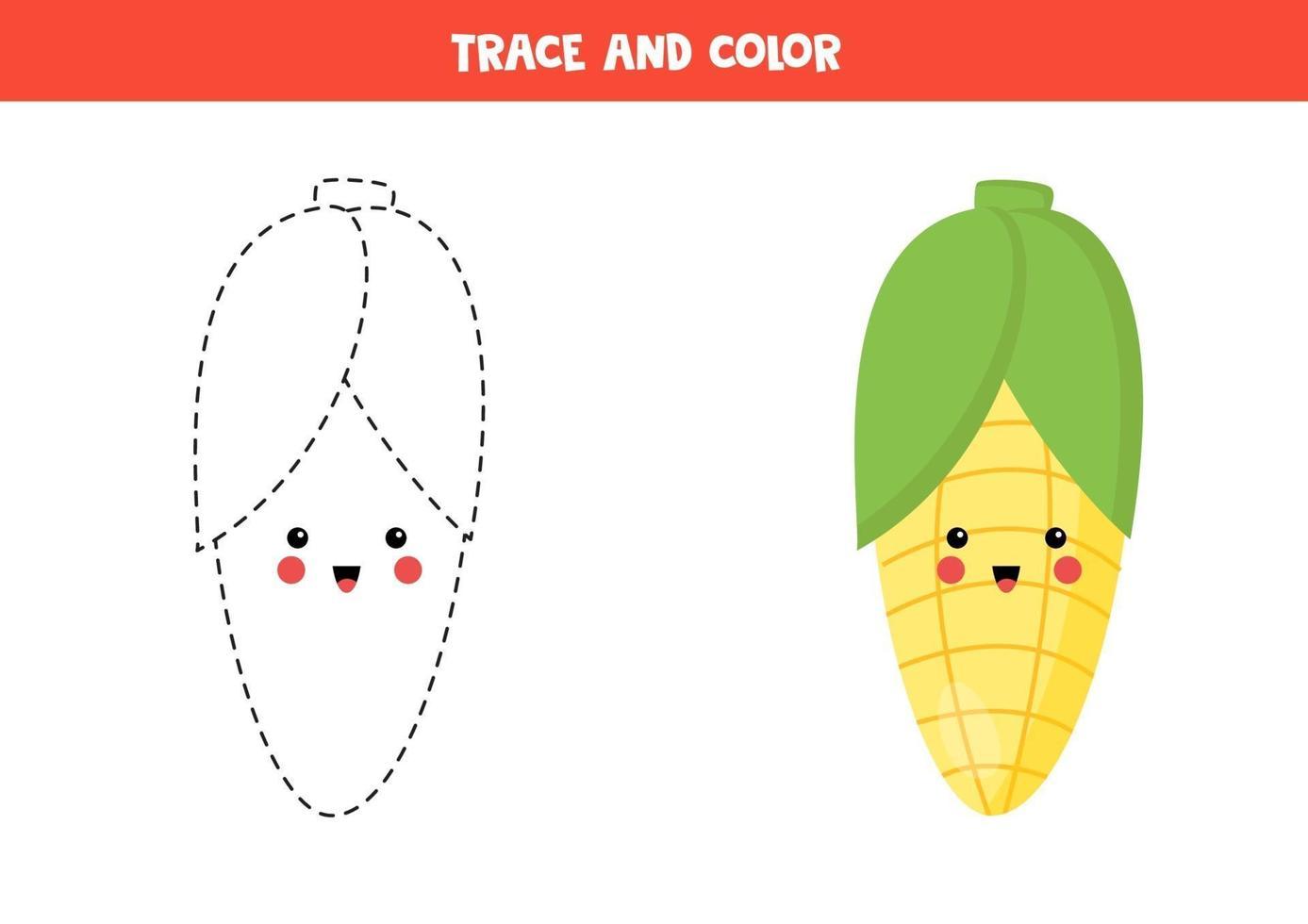 tracez et coloriez le maïs kawaii mignon. coloriage pour les ...