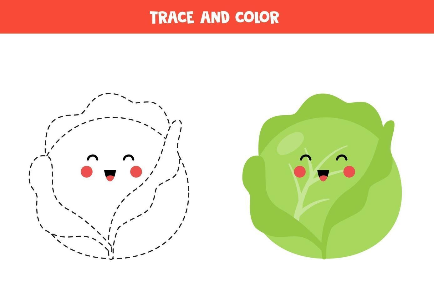 tracez et coloriez le chou kawaii mignon. coloriage pour les ...