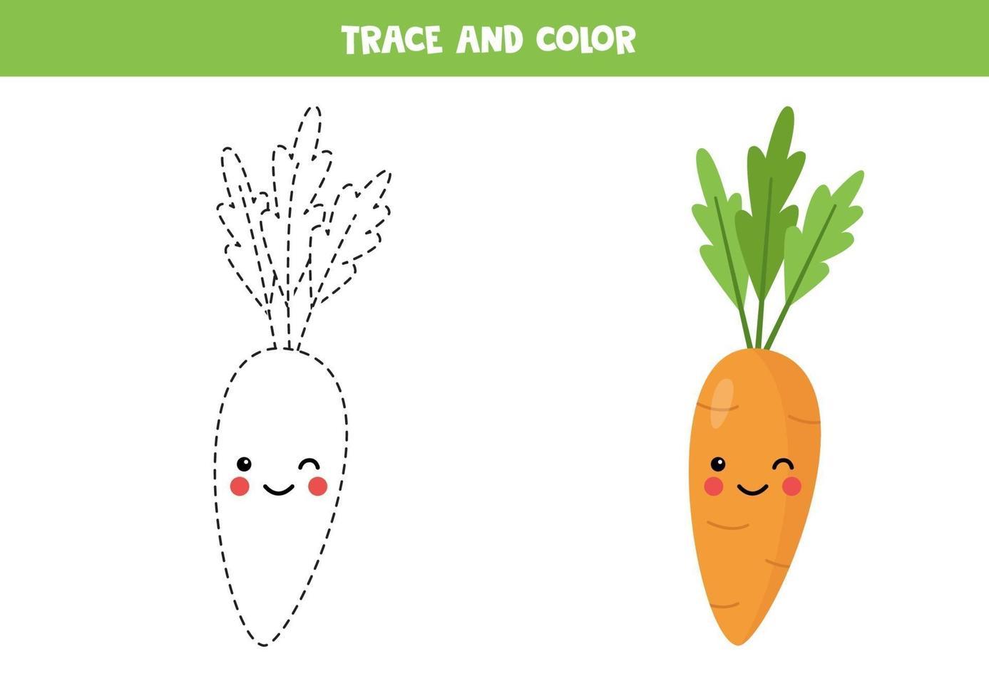 tracez et coloriez la carotte kawaii mignonne. coloriage pour les ...