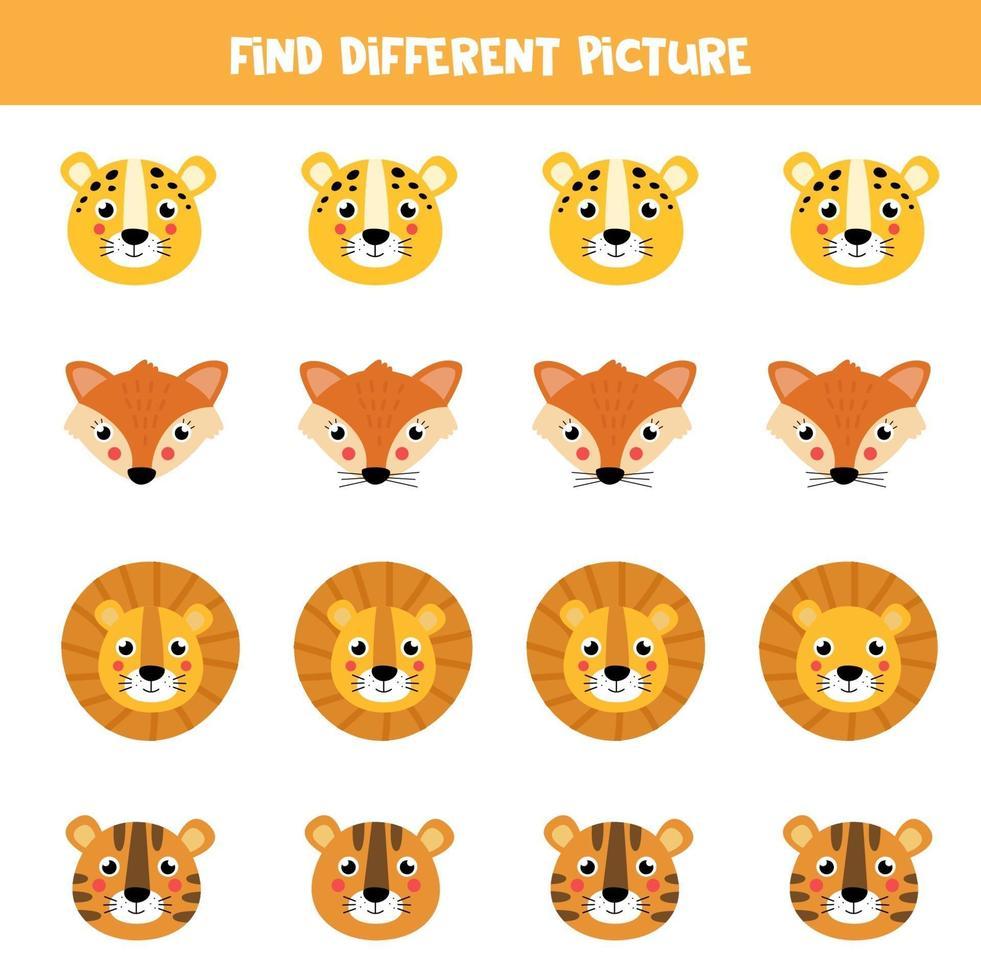 trouver une image différente dans chaque rangée. visages d'animaux de dessin animé mignon. vecteur