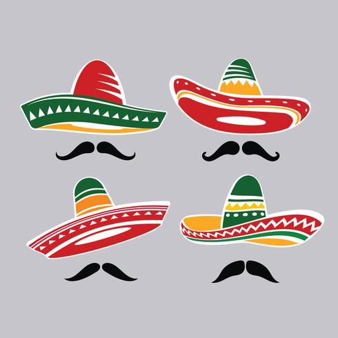 Collection de chapeaux Sombrero mexicains traditionnels avec Mustacle vecteur