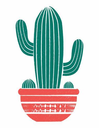 Illustration vectorielle propre et simple d'un cactus en pot dans le style linogravure. vecteur