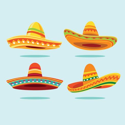 Chapeau traditionnel mexicain à large bord et chapeau de Sombrero vecteur