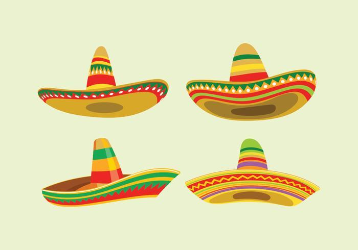 Ensemble Sombrero à large bord mexicain vecteur