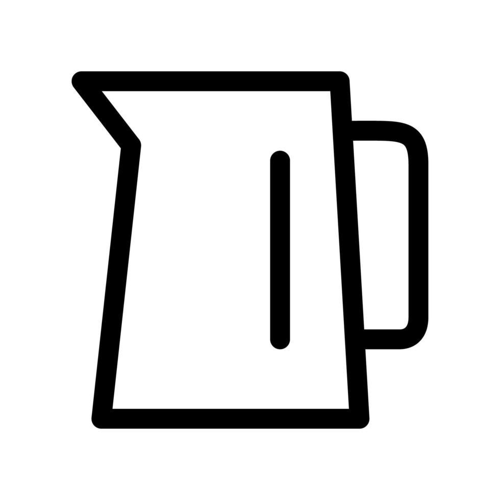 appareils ménagers - icône de contour de bouilloire. élément noir et blanc de l'ensemble, vecteur linéaire.