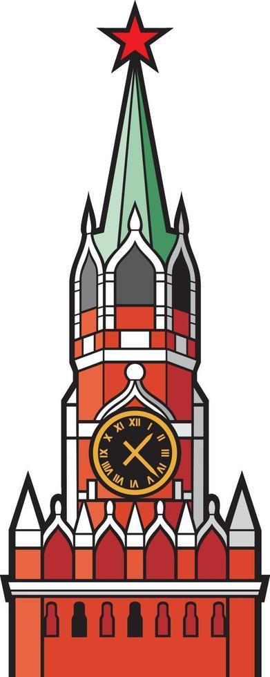 tour du kremlin avec horloge à moscou icône plate illustration vectorielle vecteur