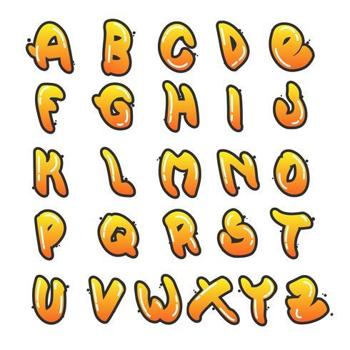 Collection d'alphabet Graffiti plat vecteur