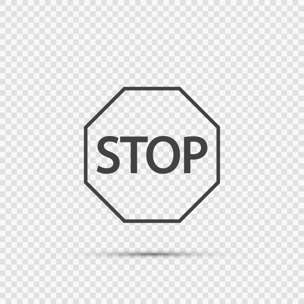 icônes de panneau d'arrêt sur fond transparent vecteur