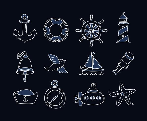 Icônes nautiques dessinée à la main vecteur
