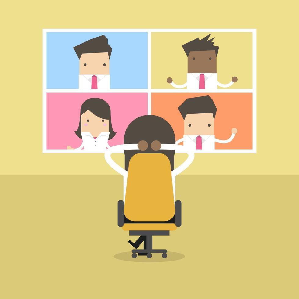 homme d'affaires afro avec réunion d'affaires de vidéoconférence. réunions virtuelles en ligne, travail à domicile. vecteur
