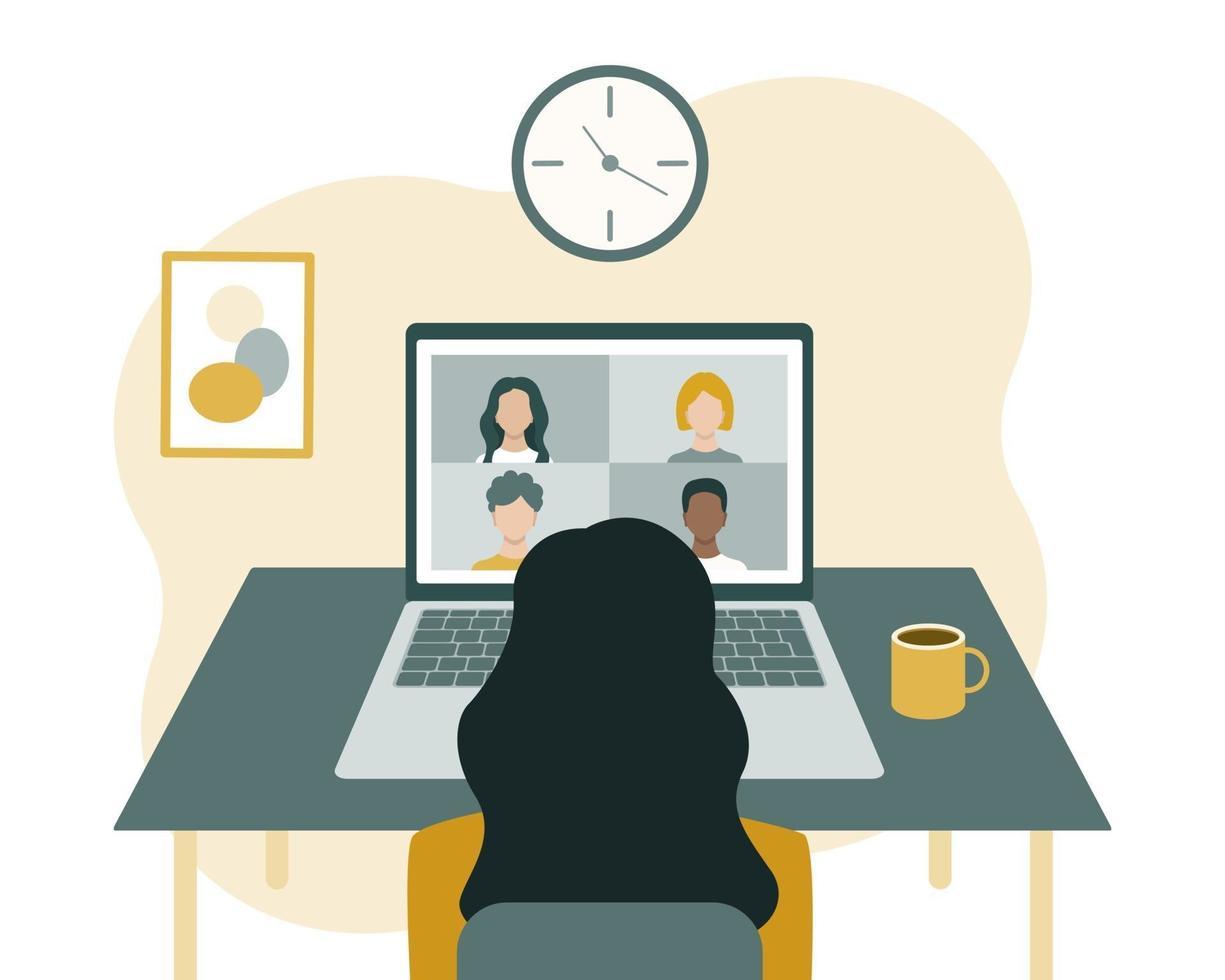conférence, communication et formation en ligne. une femme est assise devant un ordinateur portable et regarde l'écran. vecteur