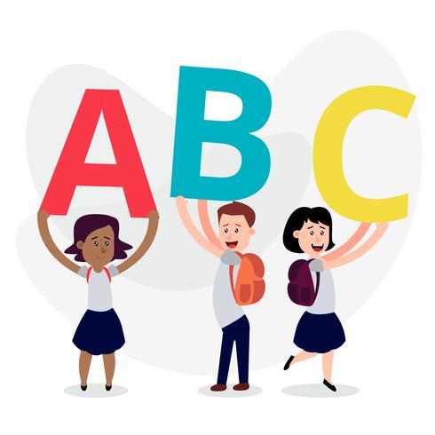 Enfants mignons portant des vêtements d'école tenant des lettres colorées vecteur
