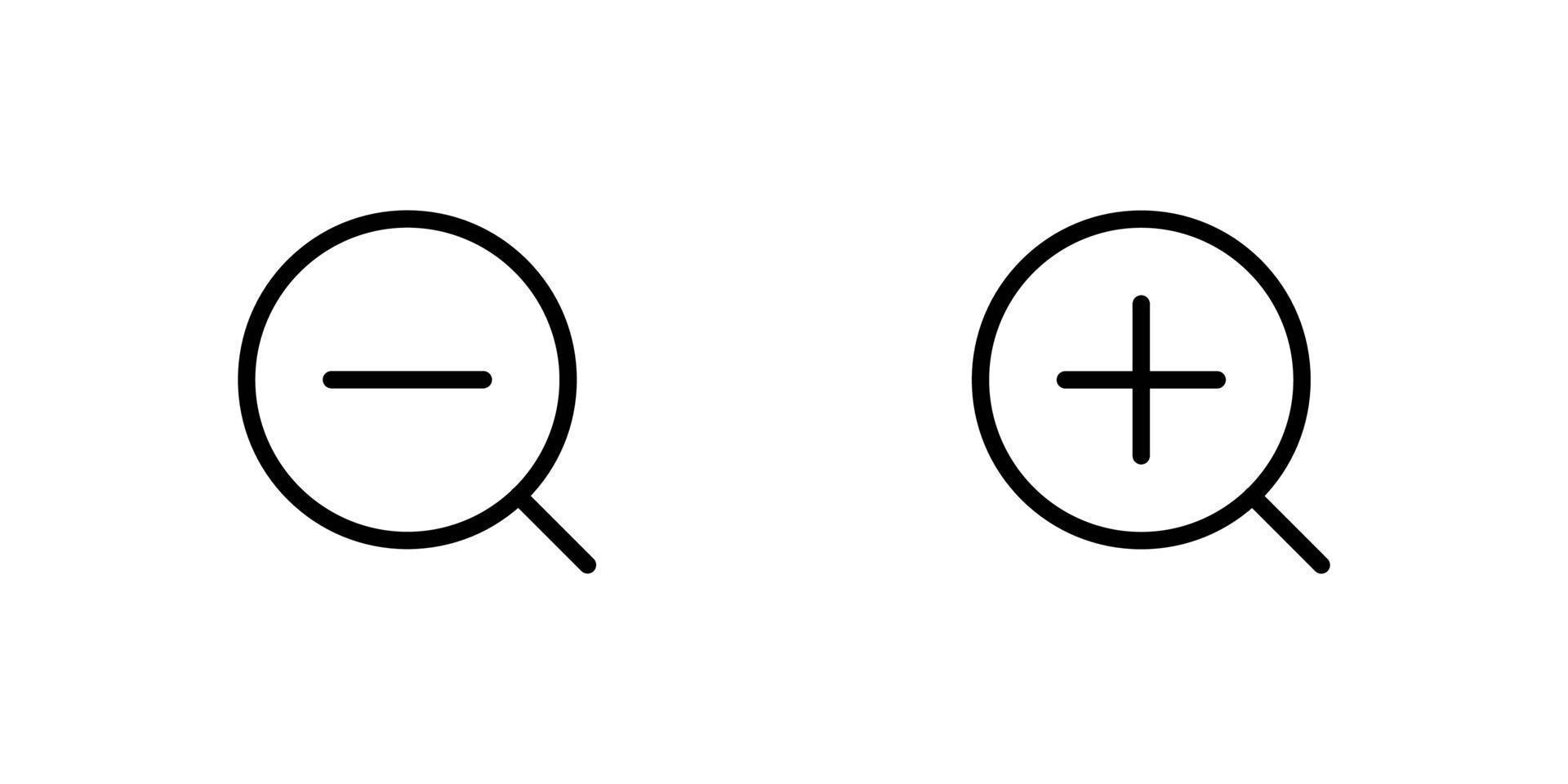 zoom avant et zoom arrière jeu d'icônes plat vecteur