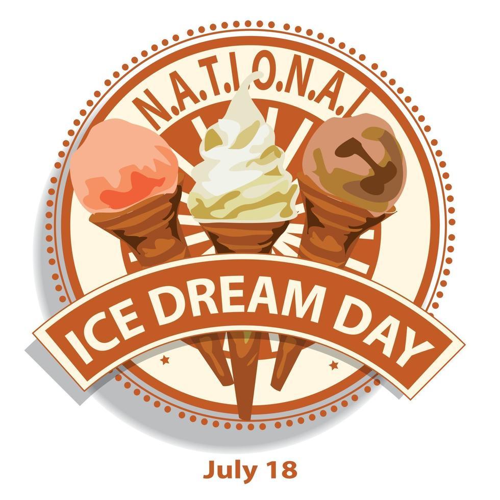 signe de la journée nationale de la crème glacée vecteur