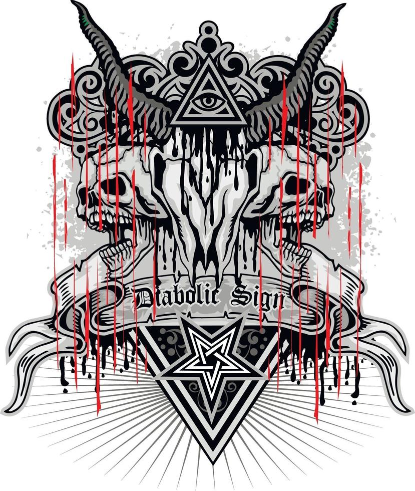 signe gothique avec crâne de chèvres et oeil de la providence, design vintage grunge vecteur