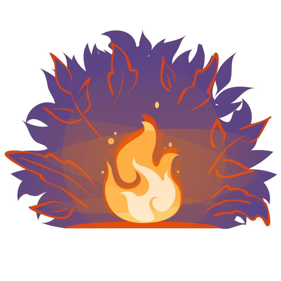 illustration de dessin animé plat vecteur feu de camp. flamme de feu dans la forêt la nuit. autocollant de bannière de feu de joie isolé sur fond blanc. icône de silhouette de soirée cheminée d'été. emblème de signe de feu de forêt.