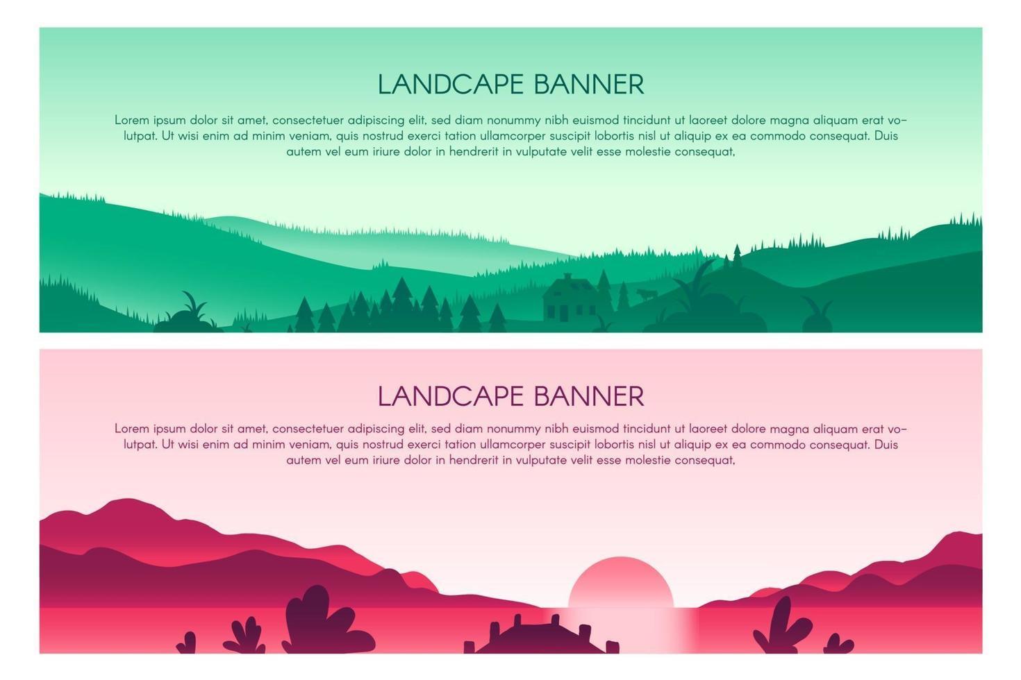 ensemble de modèles de bannière de vecteur plat paysage