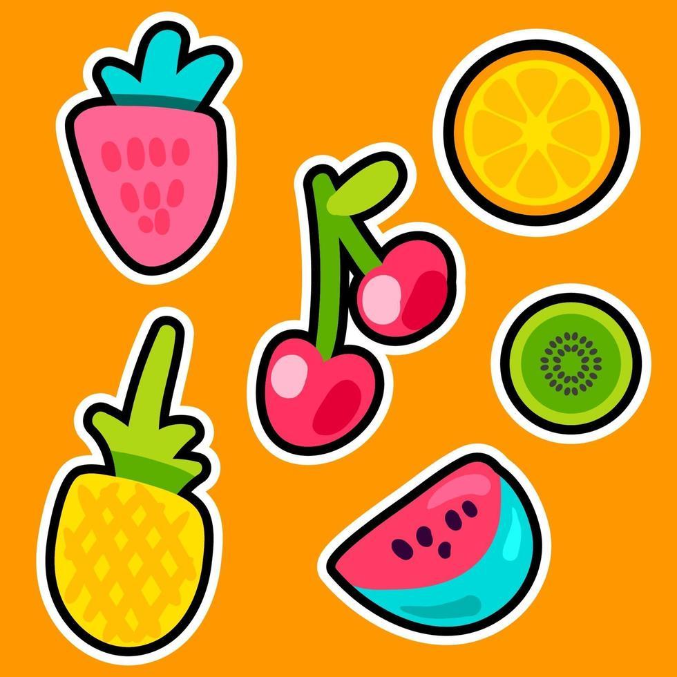 ensemble d'autocollants de couleur fruits doodle vecteur