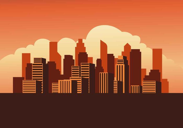 Cityscape Sunset Illustration vectorielle vecteur