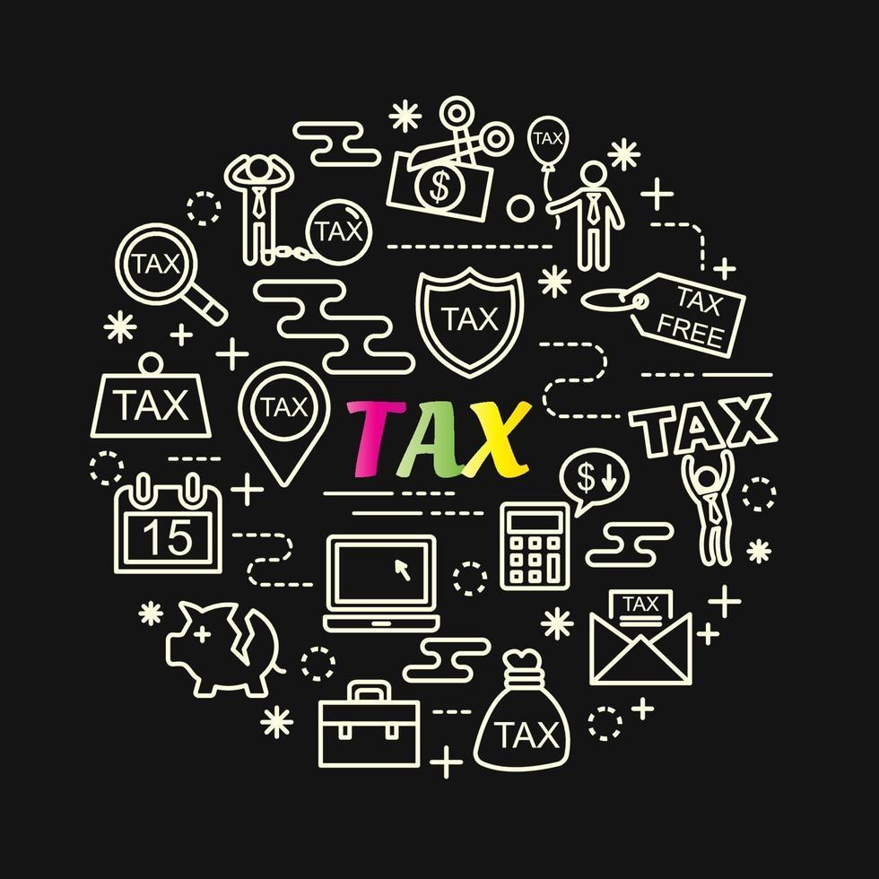 lettrage dégradé coloré de taxe avec jeu d & # 39; icônes vecteur