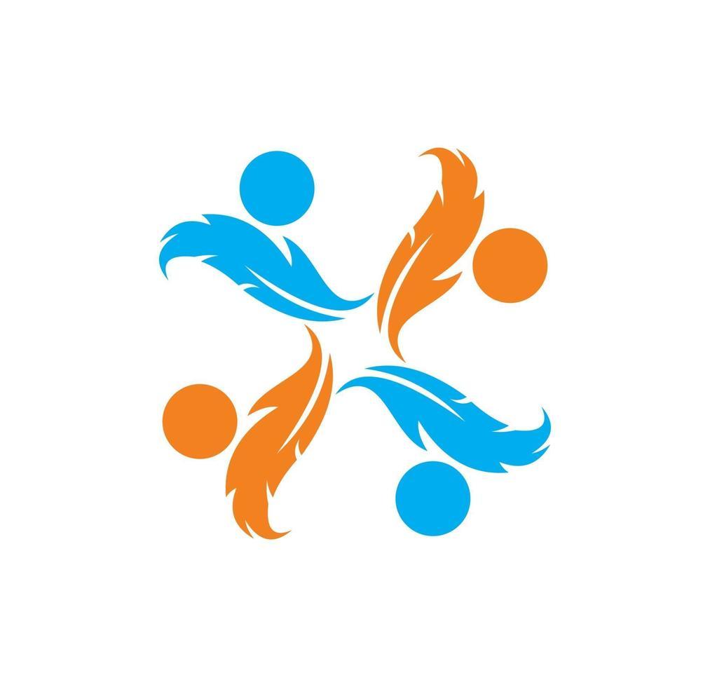 signe de logo de rotation de plumes vecteur