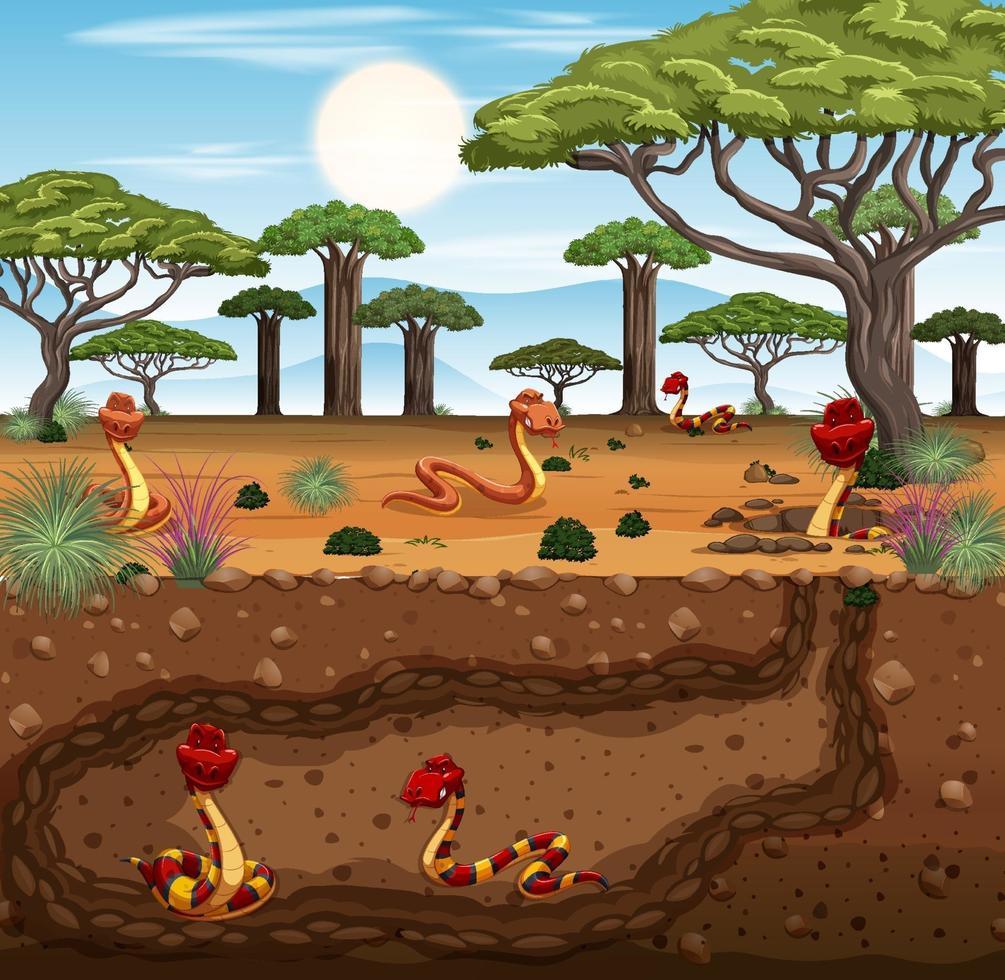 terrier animal souterrain avec famille de serpents vecteur
