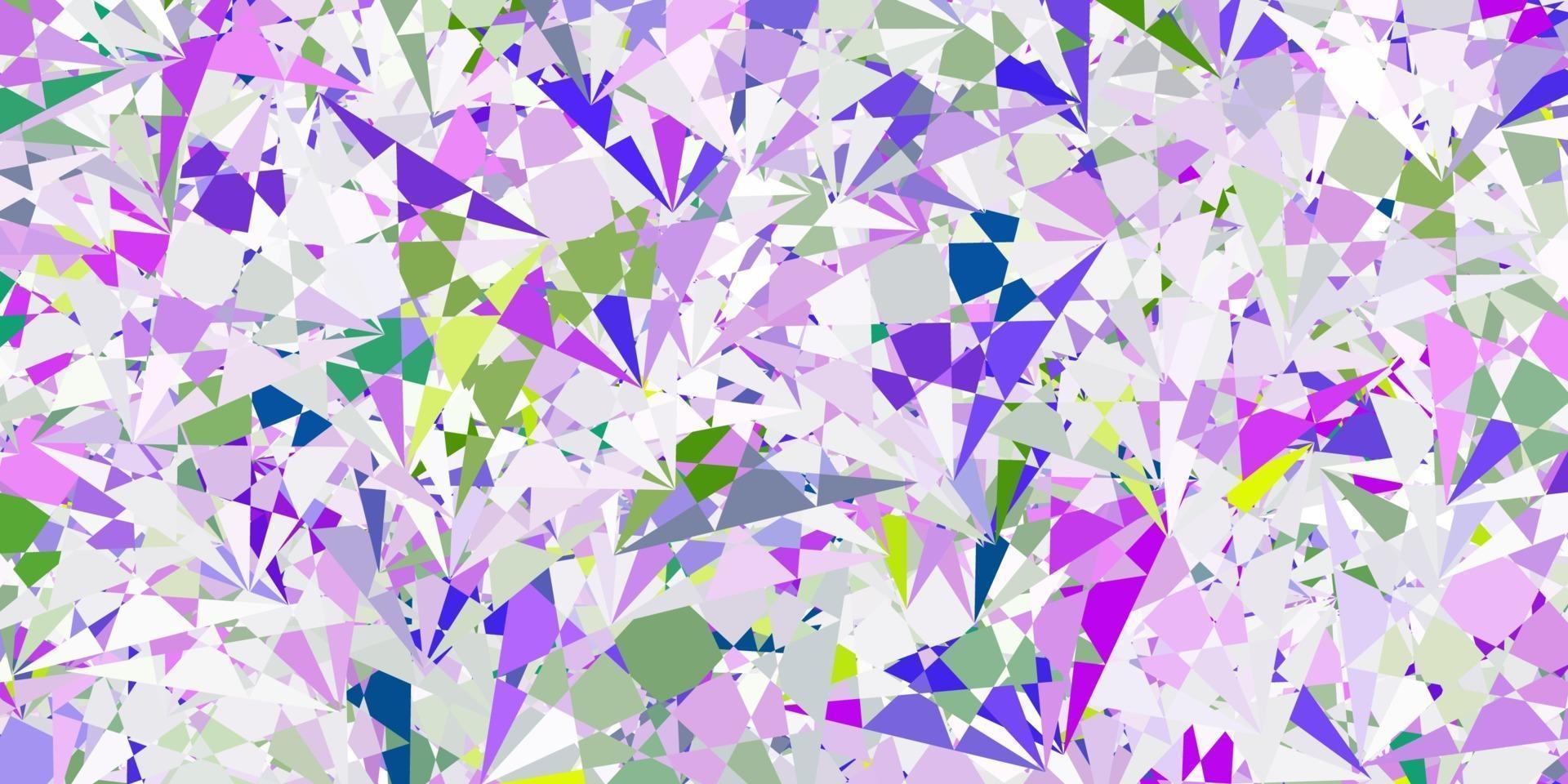 modèle vectoriel rose clair et vert avec des formes triangulaires.