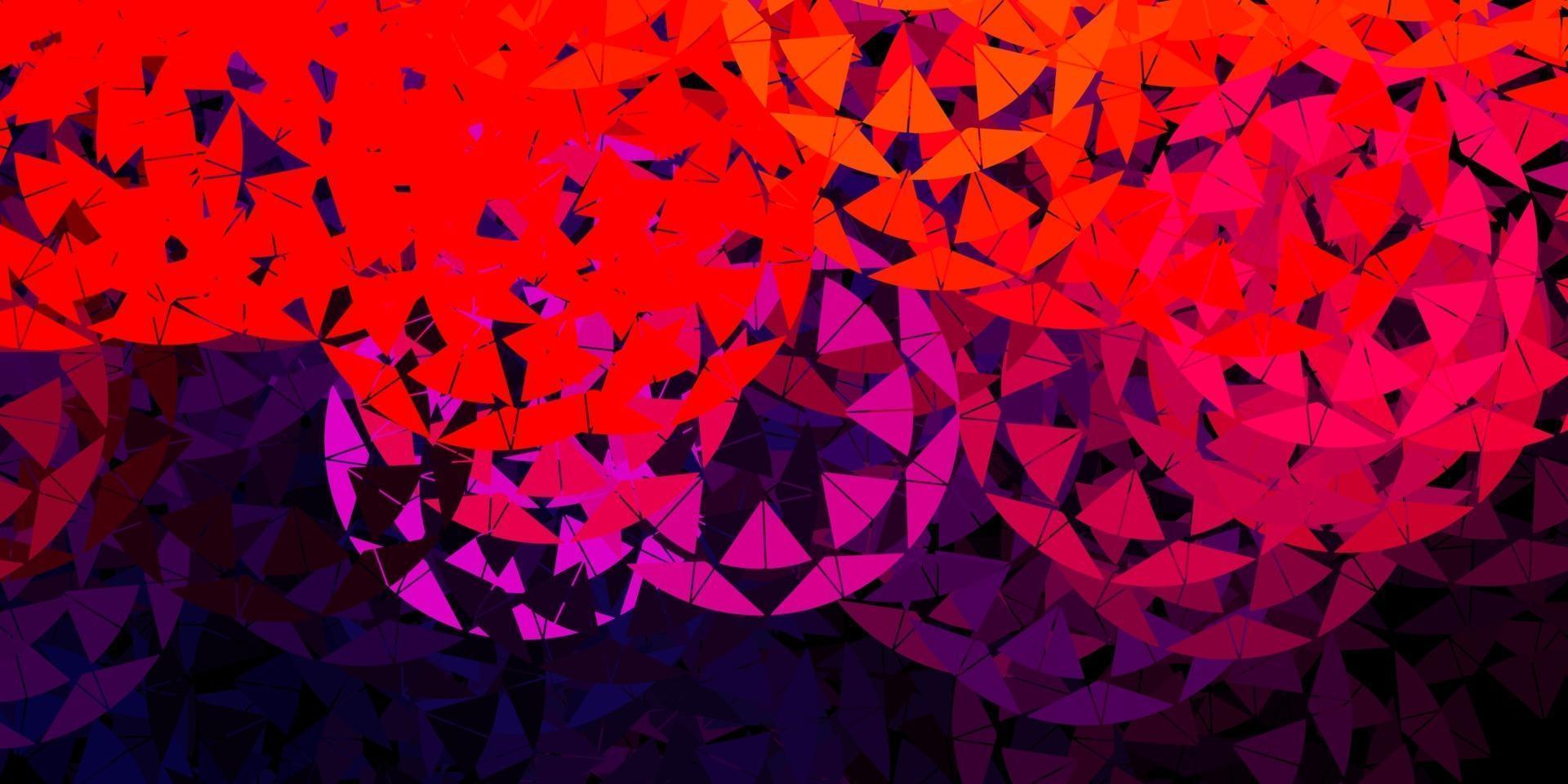 toile de fond de vecteur rose et rouge foncé avec des triangles, des lignes.