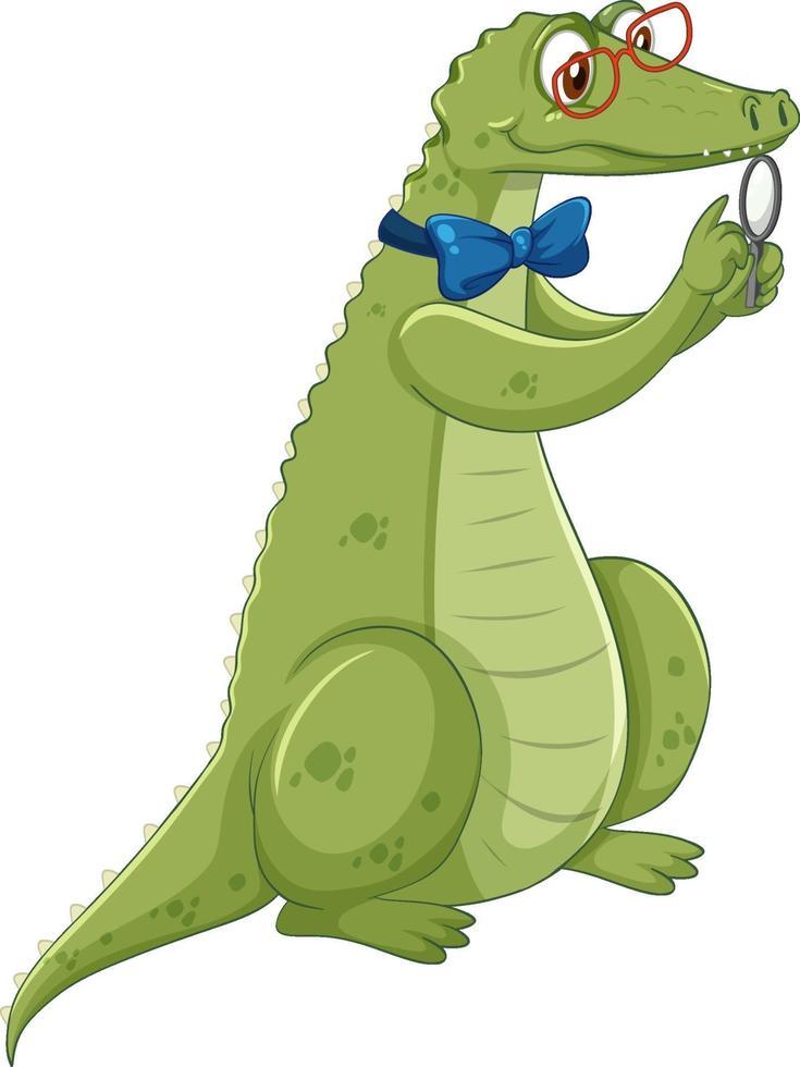 Personnage de dessin animé de crocodile ringard isolé sur fond blanc vecteur