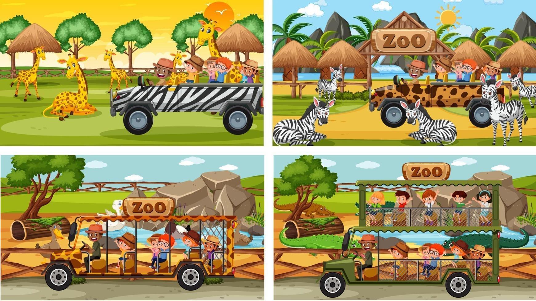 ensemble de différentes scènes de safari avec des animaux et des enfants vecteur