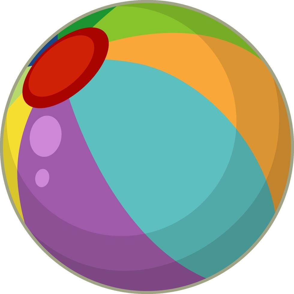 un style de dessin animé de ballon de plage coloré isolé vecteur