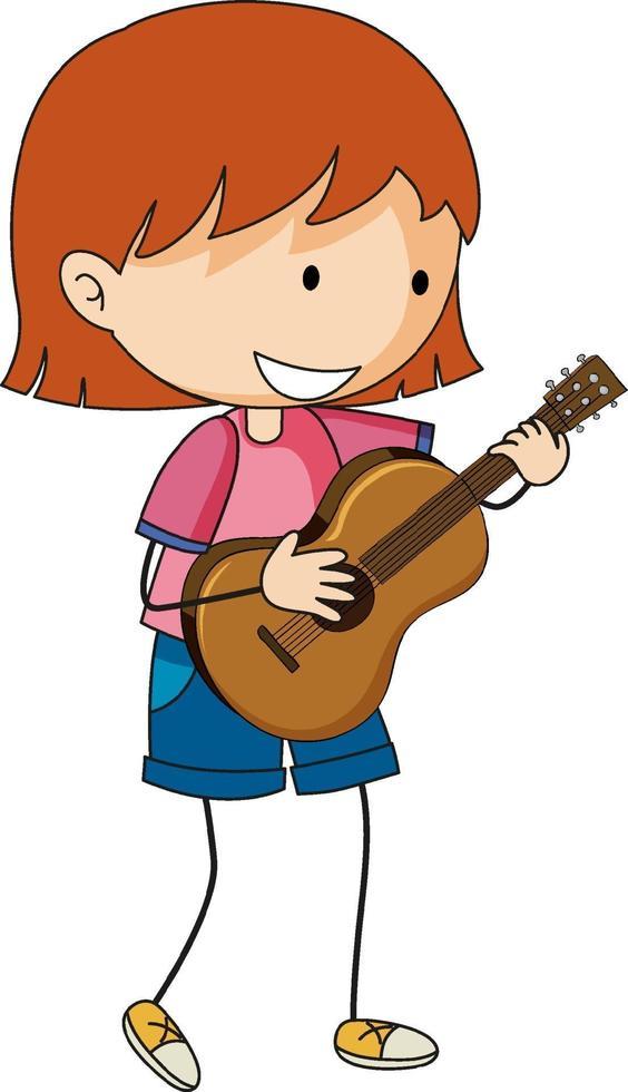 Un enfant de griffonnage jouant un personnage de dessin animé de guitare acoustique isolé vecteur