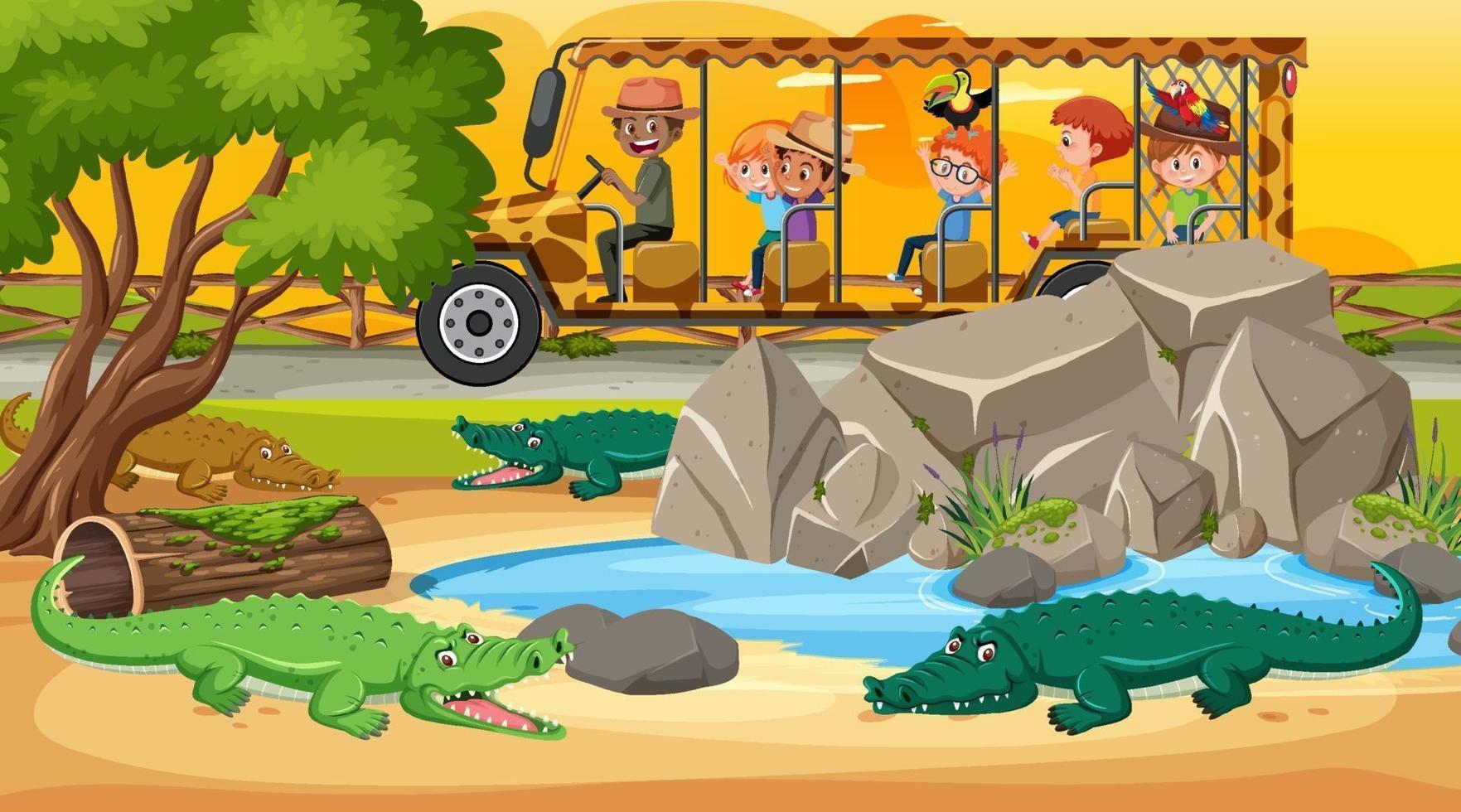 safari au coucher du soleil avec des enfants regardant un groupe de crocodiles vecteur